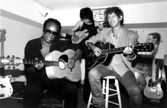 Bobby Womack jams with his Rolling Stones pals Ron Wood (center) and Keith Richards
