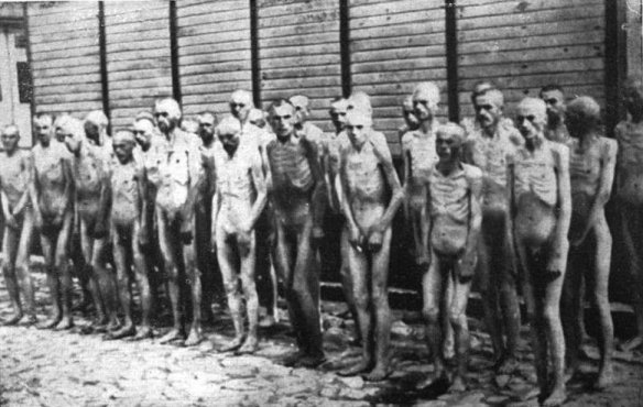 Soviet POWs standing before a barracks in Mauthausen Concentration Camp